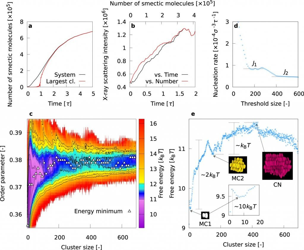 Multistep mechanism of nanostructure formation in liquid crystal